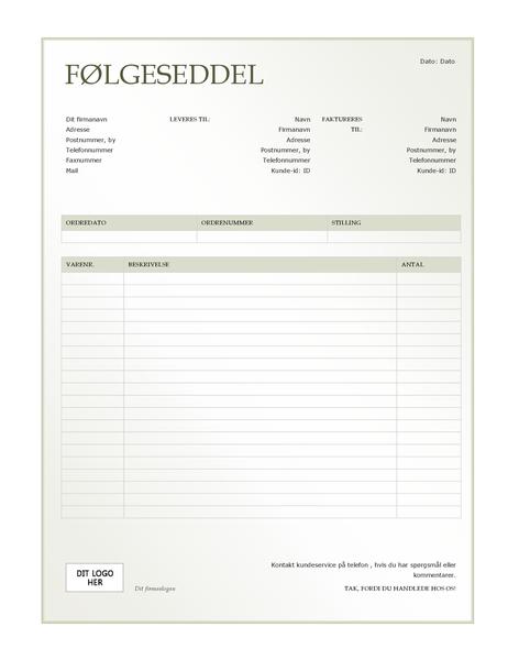Følgeseddel (design med grøn graduering)