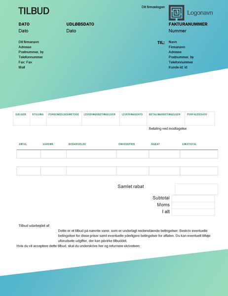 Salgstilbud (design med grøn graduering)