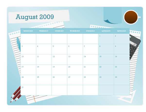 Kalender for skoleåret 2009-2010 (aug-aug, man-søn)