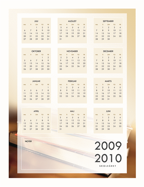 Kalender for skoleåret 2009-2010 (1 side, man-fre)
