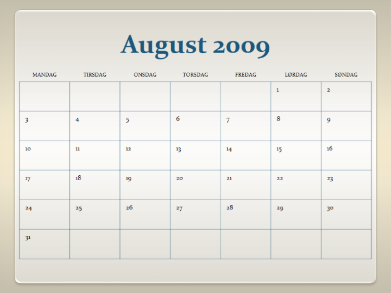 Kalender for skoleåret 2009-2010 (13 mdr., man-søn)