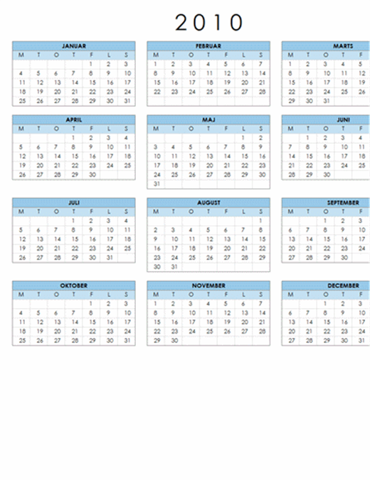 Kalender for 2010 (1 side, liggende, man-søn)