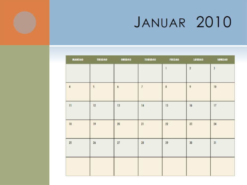 Kalender for 2010 (man-søn)