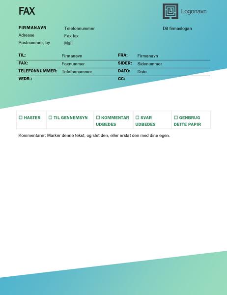 Faxforside (design med grøn graduering)