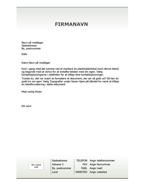 Brevpapir med virksomhedsbrevhoved (simpelt design)