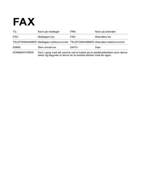 Faxforside (standardformat)