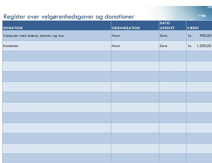 Register over velgørenhedsgaver og donationer (simpelt)