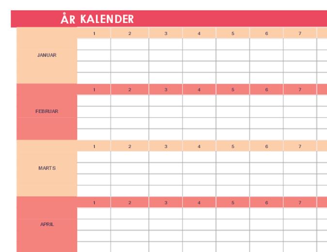 Kalender (et hvilket som helst år, vandret)