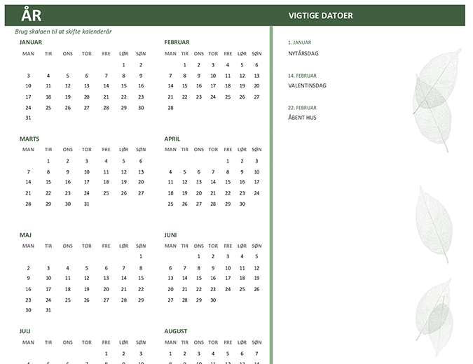 Kalender for virksomheder (alle år, man-søn)