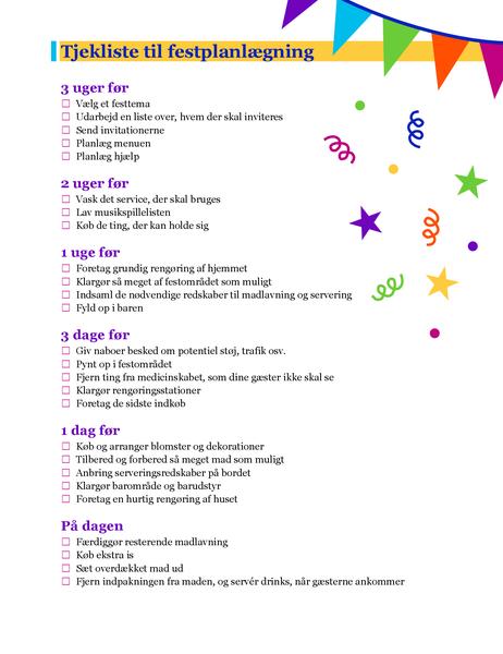 Tjekliste til festplanlægning