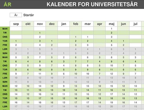 Kalender for studieåret