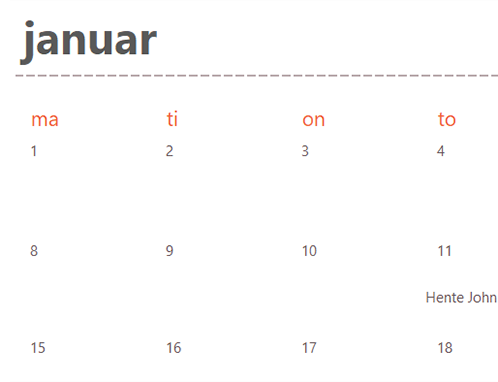 Stedsegrønne kalenderfaner (hvid)