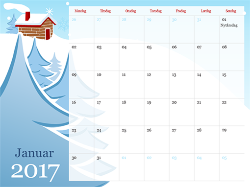 Illustreret årstidskalender for 2015 (man-søn)