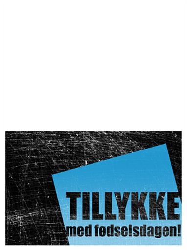 Fødselsdagskort, skraveret baggrund (sort, blå, midterfold)