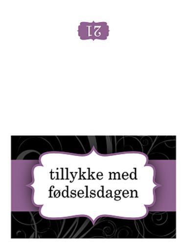 Fødselsdagskort (design med lilla bånd, midterfold)