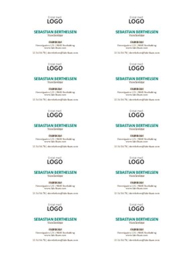 Visitkort, vandret layout med logo (10 pr. side)