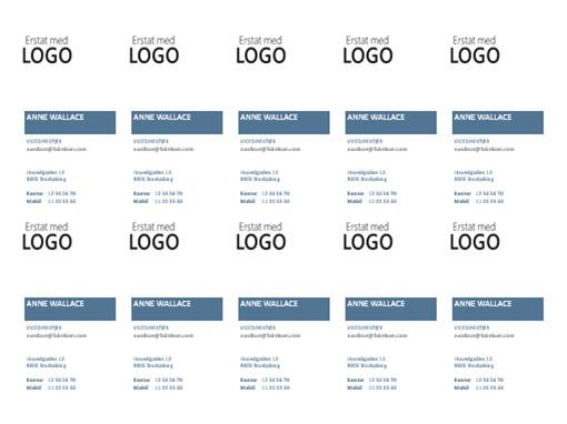 Visitkort, lodret layout med logo (10 pr. side)