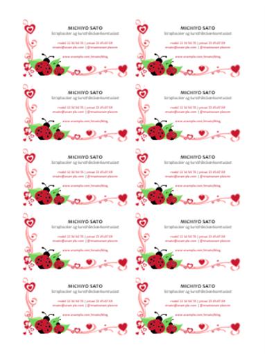 Visitkort (mariehøner og hjerter, centreret, 10 pr. side)