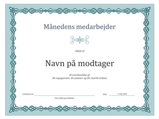 Certifikat til månedens medarbejder (design med blå kæde)