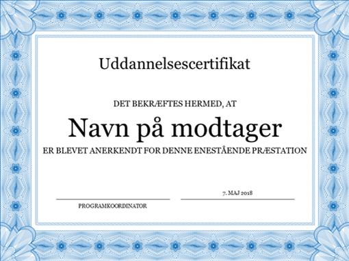 Uddannelsescertifikat (formel blå kant)