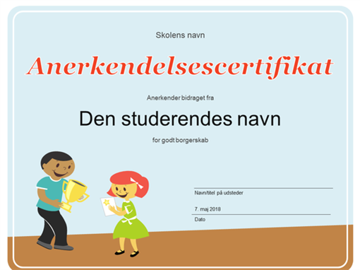Anerkendelsescertifikat (yngre elever)