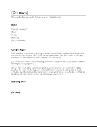 Følgebrev til CV