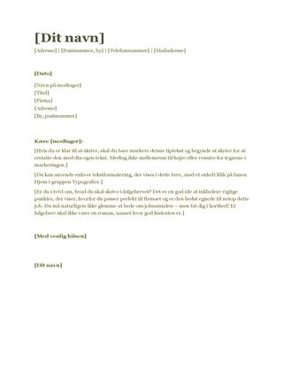 CV-følgebrev (grøn)