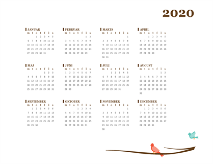 Årskalender for 2018 (man-søn)
