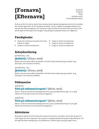 Afbalanceret CV (Moderne design)