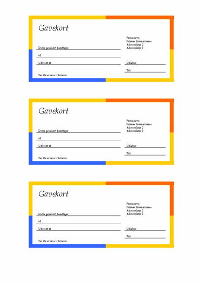Gavekort (mangefarvet kant, 3 eksempler)