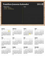 Familiekalender (et hvilket som helst år, mandag til søndag)