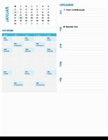 Ugebaseret planlægningskalender for studerende (et hvilket som helst år, mandag til søndag)