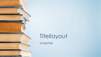 Blå præsentation med bøger (widescreen)