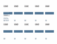 Visitkort, lodret layout med logo, venstrejusteret tekst