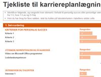 Tjekliste til karriereplanlægning