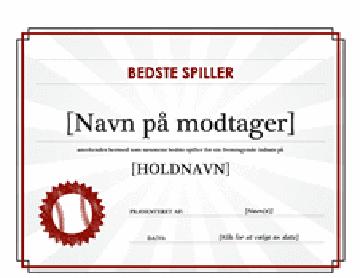 Certifikat til årets spiller