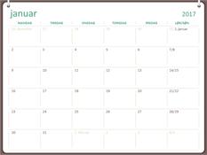 Kalender for 2017 (man-søn, design med to ringe)