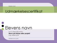 Udmærkelsescertifikat til studerende
