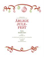 Invitation med røde og grønne ornamenter (designet Formelt)
