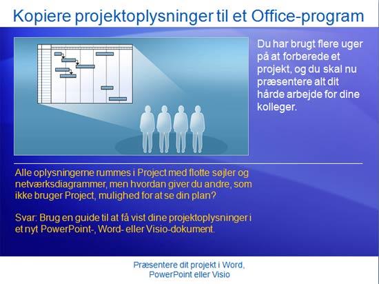 Kursuspræsentation: Project 2007 – Præsentere et projekt i Word, PowerPoint eller Visio