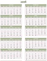 Årskalender for 2016-2025 (man-søn)