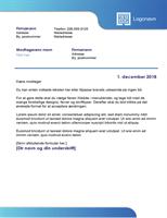 Forretningsbrev (blå kant og farvegraduering)