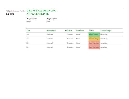 Aufgabenliste für Gruppenzuordnung