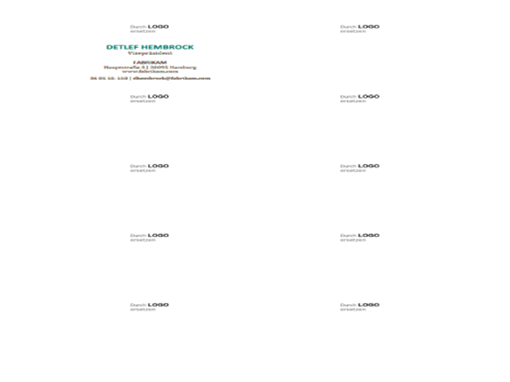 Visitenkarten, horizontales Layout mit Logo (10 pro Seite)