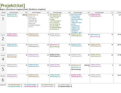 Projektplanungszeitachse