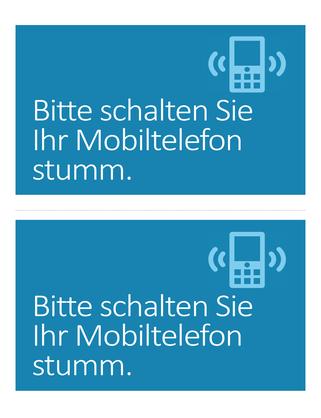 """Erinnerungsposter zum Deaktivieren der Mobiltelefone (Design """"Blau"""")"""