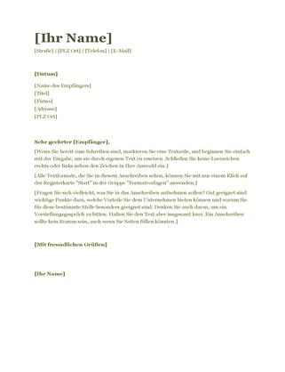 """Anschreiben für Lebenslauf (Design """"Grün"""")"""