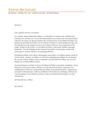 Referenzschreiben für einen Schüler