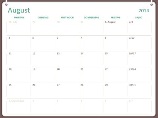 Akademischer Kalender 2014 - 2015 (August - Juli)