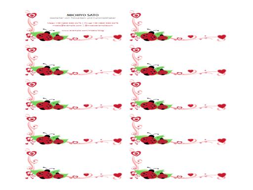 Visitenkarten (Marienkäfer und Herzen, zentriert, 10 pro Seite)